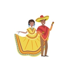 Couple In Mexican National Clothes vector