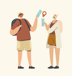 couple male and female characters with backpacks vector image