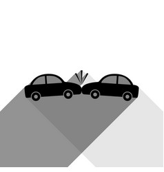crashed cars sign black icon with two vector image