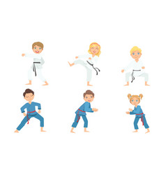 Cute boy and girls doing karate and judo in white vector