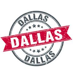 Dallas red round grunge vintage ribbon stamp vector