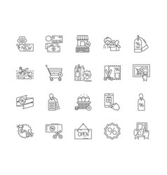 discount store line icons signs set vector image