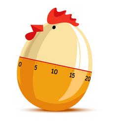 Egg timer clock in form hen chicken clock vector