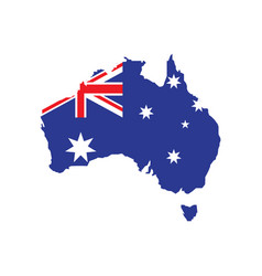 flag australia placed over an outline map of vector image