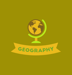 Flat icon on background geography lesson vector