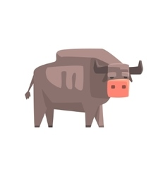 Grey Bull Toy Simple Geometric Farm Cow Browsing vector image