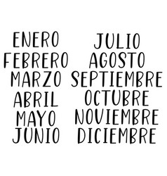 hand lettered months year in spanish vector image