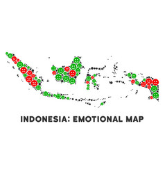 Happiness indonesia map mosaic of smileys vector