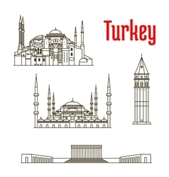 Historic landmarks and sightseeings of Turkey vector image