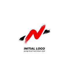 Initial letter n logo icon dry grunge enzo brush vector