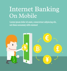 Internet banking on mobile cartoon business vector image