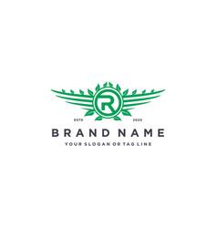 Letter r leaf wing logo design concept vector