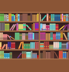 Library book shelf literature books cartoon vector