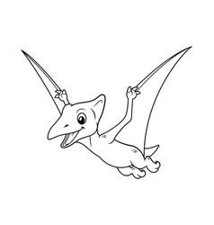 little pterodactyl cartoon bw vector image