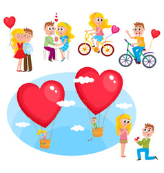 Loving couple set - kissing dating proposal vector