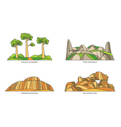Madagascar landmarks or africa natural icon set vector