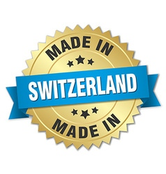 made in Switzerland gold badge with blue ribbon vector image