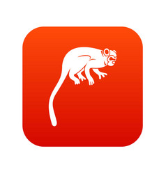 Marmoset monkey icon digital red vector