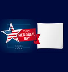 memorial day remember honor banner template vector image
