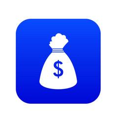 Money bag icon digital blue vector