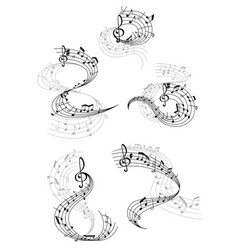 music notes staff waves vector image
