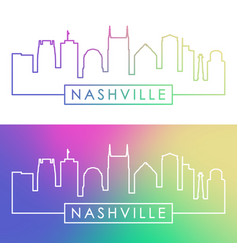 Nashville skyline colorful linear style editable vector