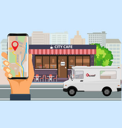 Online order and fast food delivery with food vector