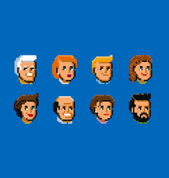 people male and female faces avatars pixel art vector image