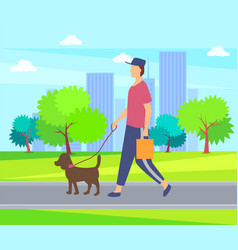 person with dog on lead walking in park buildings vector image