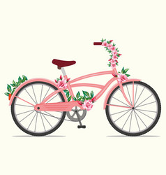 Pink bicycle with rose flowers vector