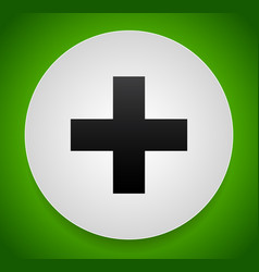 Plus addition sign or icon over green vector