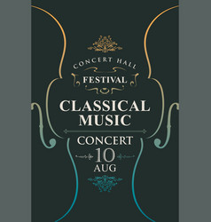 Poster for concert classical music with violins vector