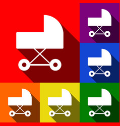 pram sign set of icons with vector image