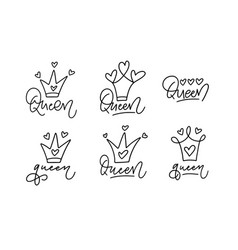 queen and crown childlike doodle fun text vector image