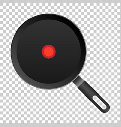 Realistic frying pan icon in flat style cooking vector