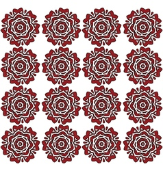 Red lace roses on the white backdrop pattern vector image