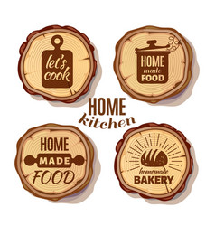 Retro kitchen cooking at home and handmade badges vector