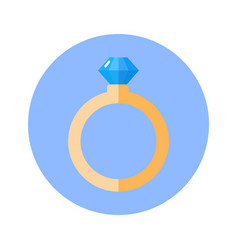 Ring with diamond icon on blue round background vector