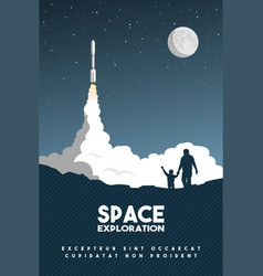 rocket takes off in starry sky space research vector image
