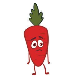 Sad carrot on white background vector