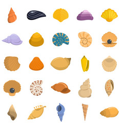 sea shell icons set isolated vector image
