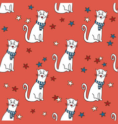 seamless pattern with funny cats and stars vector image