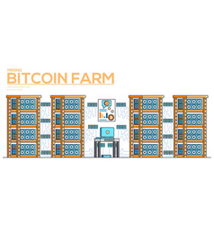 server room with equipment for mining crypto vector image