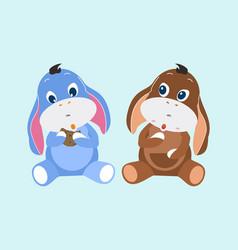 Set cute rabbit stuffed characters vector