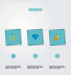 set of wedding icons flat style symbols with ring vector image