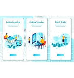 Set online tutorial school learning process vector