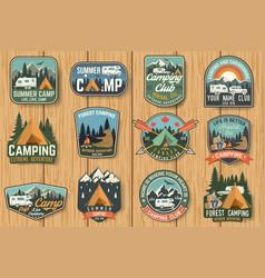 Set summer camp badges on wood board vector