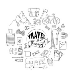set travel hand drawn concept vector image