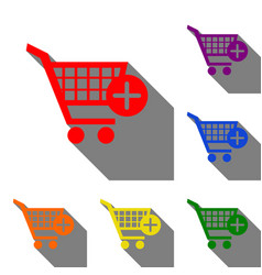 shopping cart with add mark sign set of red vector image