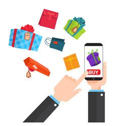 Shopping online concept hand holding smart phone vector